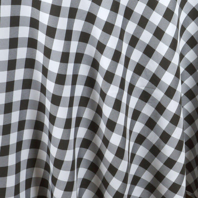 "120"" Round BLACK/WHITE Checkered Wholesale Gingham Polyester Linen Picnic Restaurant Dinner Tablecloth"
