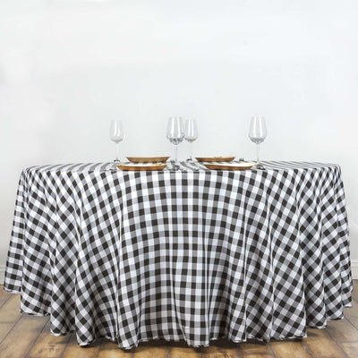 Buffalo Plaid Tablecloths | 120 Round | White/Black | Checkered Gingham Polyester Tablecloth