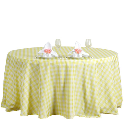 Buffalo Plaid Tablecloth | 120 Round | White/Yellow | Checkered Gingham Polyester Tablecloth
