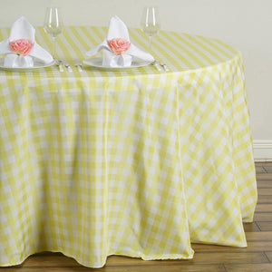 Buffalo Plaid Tablecloth | 120 inch Round | White/Yellow | Checkered Gingham Polyester Tablecloth