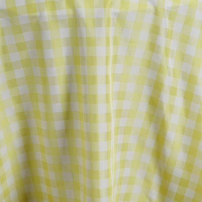 "120"" Round YELLOW/WHITE Checkered Wholesale Gingham Polyester Linen Picnic Restaurant Dinner Tablecloth"