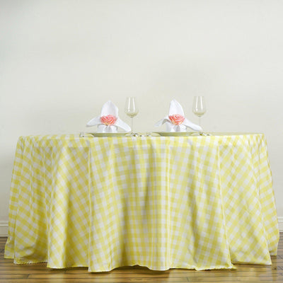 Buffalo Plaid Tablecloths | 120 Round | White/Yellow | Checkered Gingham Polyester Tablecloth