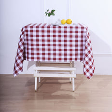 Buffalo Plaid Tablecloth | 54x54 Square | White/Burgundy | Checkered Gingham Polyester Tablecloth