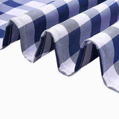 Buffalo Plaid Tablecloth | 54x54 Square | White/Navy Blue | Checkered Gingham Polyester Tablecloth