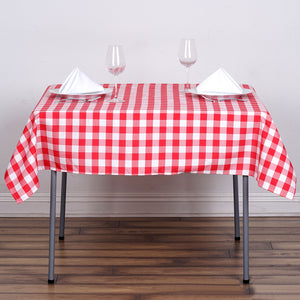 "54""x54"" Checkered Polyester Gingham Picnic Square Linen Tablecloth Overlay For Banquet Restaurant - White/Red"