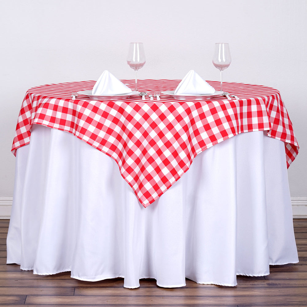 """54"""" Square WHITE / RED Checkered Wholesale Gingham ..."""