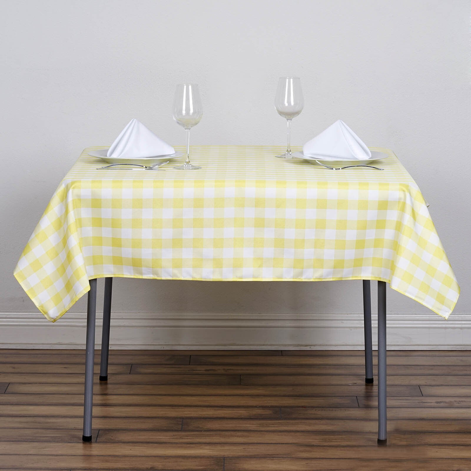 "Cheap Wedding Dresses Buffalo Ny: 54""x54"" White/Yellow Checkered Gingham Polyester Square"