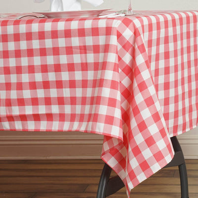 "Perfect Picnic Inspired Coral/White Checkered 60x102"" Polyester Tablecloths"