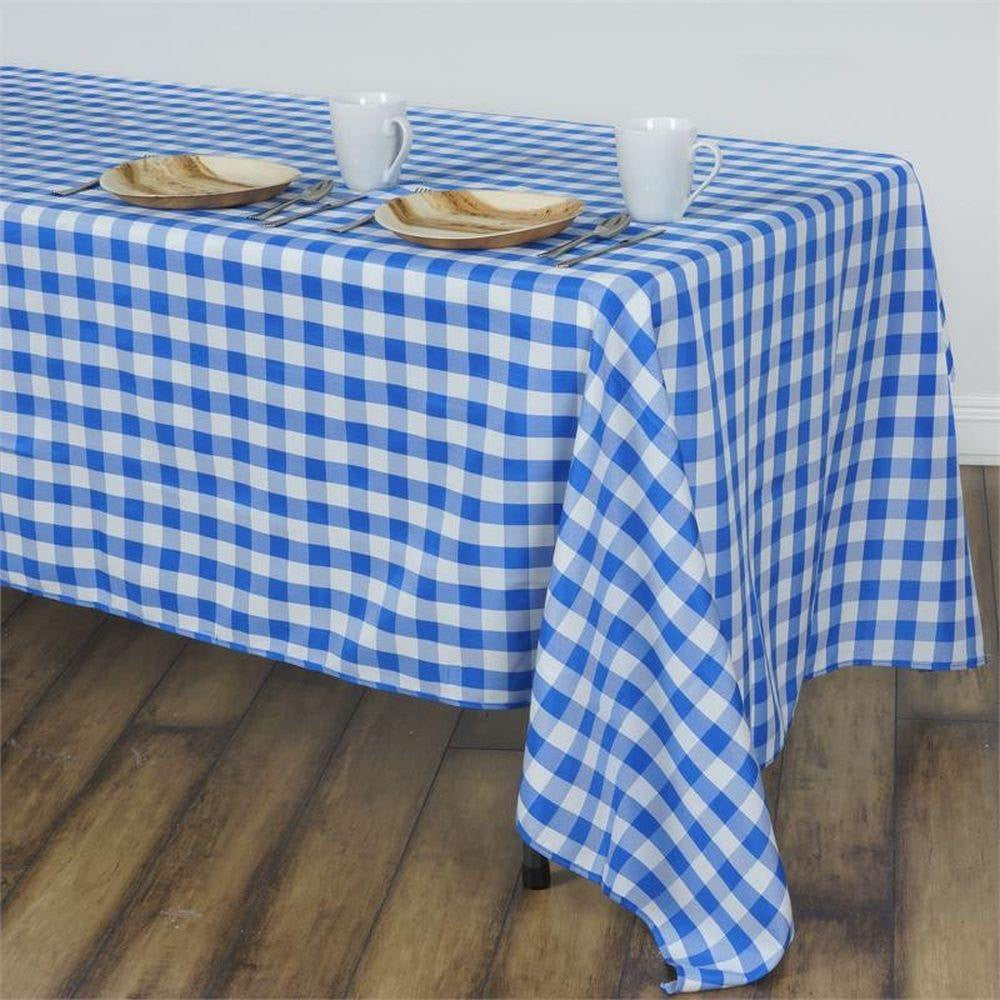 """Blue White Checkered 90x156/"""" RECTANGULAR Polyester Tablecloth Picnic Events"""
