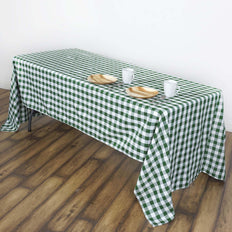 Buffalo Plaid Tablecloth | 60x102 Rectangular | White/Green | Checkered Polyester Linen Tablecloth