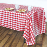 "60x102"" White/Red Perfect Picnic Inspired Checkered Polyester Tablecloths"