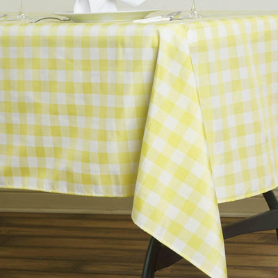 "Perfect Picnic Inspired Yellow/White Checkered 60x102"" Polyester Tablecloths"