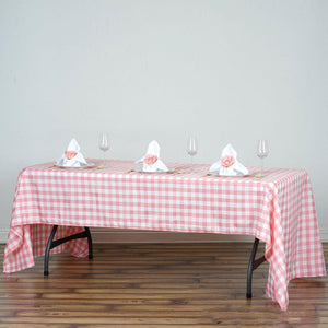 "60x126"" White/Rose Quartz Checkered Polyester Rectangular Tablecloth"