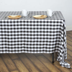 Buffalo Plaid Tablecloths | 60x126 Rectangular | White/Black | Checkered Polyester Tablecloth
