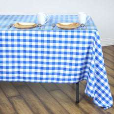 Buffalo Plaid Tablecloths | 60x126 Rectangular | White/Blue | Checkered Polyester Tablecloth