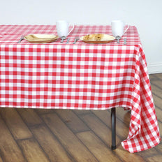 Buffalo Plaid Tablecloths | 60x126 Rectangular | White/Red | Checkered Polyester Tablecloth