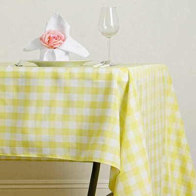 "Perfect Picnic Inspired Yellow/White Checkered 60x126"" Polyester Tablecloths"