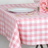 "70"" Square Rose Quartz & White Checkered Wholesale Gingham Polyester Linen Picnic Restaurant Dinner Tablecloth"