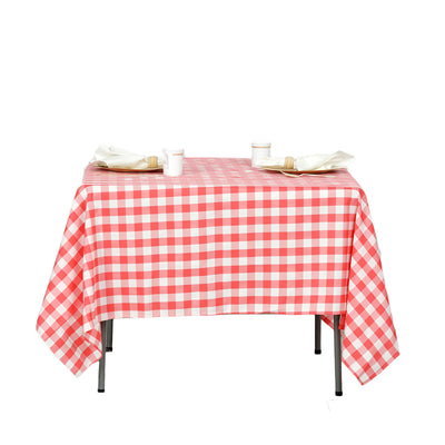 70 inch x 70 inch Square | White/Coral | Checkered Gingham Polyester Tablecloth#whtbkgd#whtbkgd