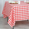 70 inch x 70 inch Square | White/Coral | Checkered Gingham Polyester Tablecloth#whtbkgd