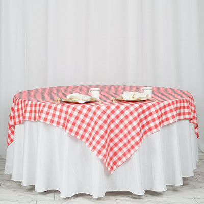 70 inch x 70 inch Square | White/Coral | Checkered Gingham Polyester Tablecloth