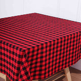 Buffalo Plaid Tablecloth | 70x70 Square | Black/Red | Checkered Gingham Polyester Tablecloth#whtbkgd
