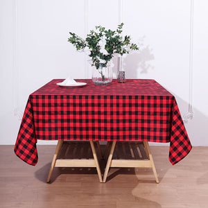 Buffalo Plaid Tablecloth | 70x70 Square | Black/Red | Checkered Gingham Polyester Tablecloth