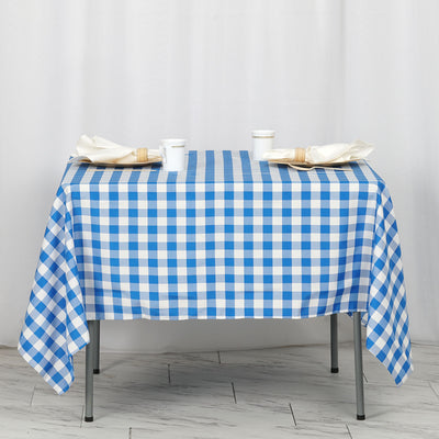 "70"" Square Blue & White Checkered Wholesale Gingham Polyester Linen Picnic Restaurant Dinner Tablecloth"