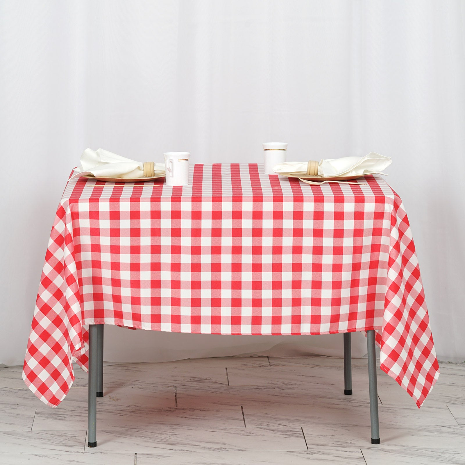 70x70 Whitered Checkered Gingham Polyester Picnic Square