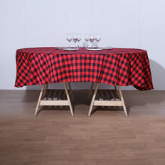 Buffalo Plaid Tablecloth | 70 inch Round | Black/Red | Checkered Gingham Polyester Tablecloth