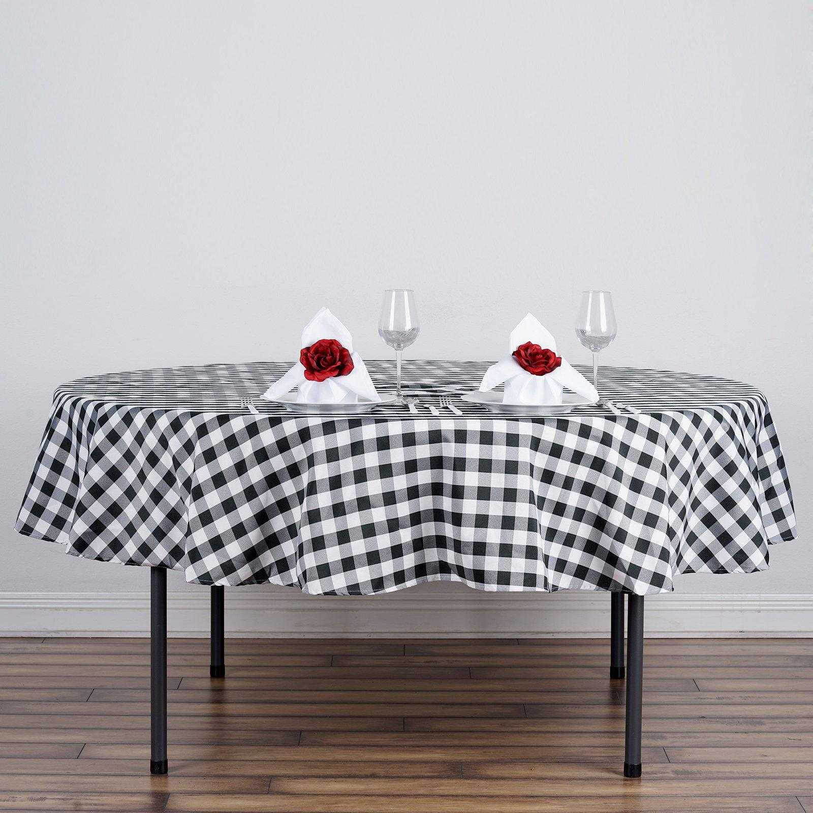 70 Whiteblack Checkered Gingham Polyester Picnic Round Tablecloth