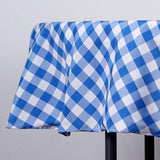 "70"" White/Blue Checkered Gingham Polyester Picnic Round Tablecloth"
