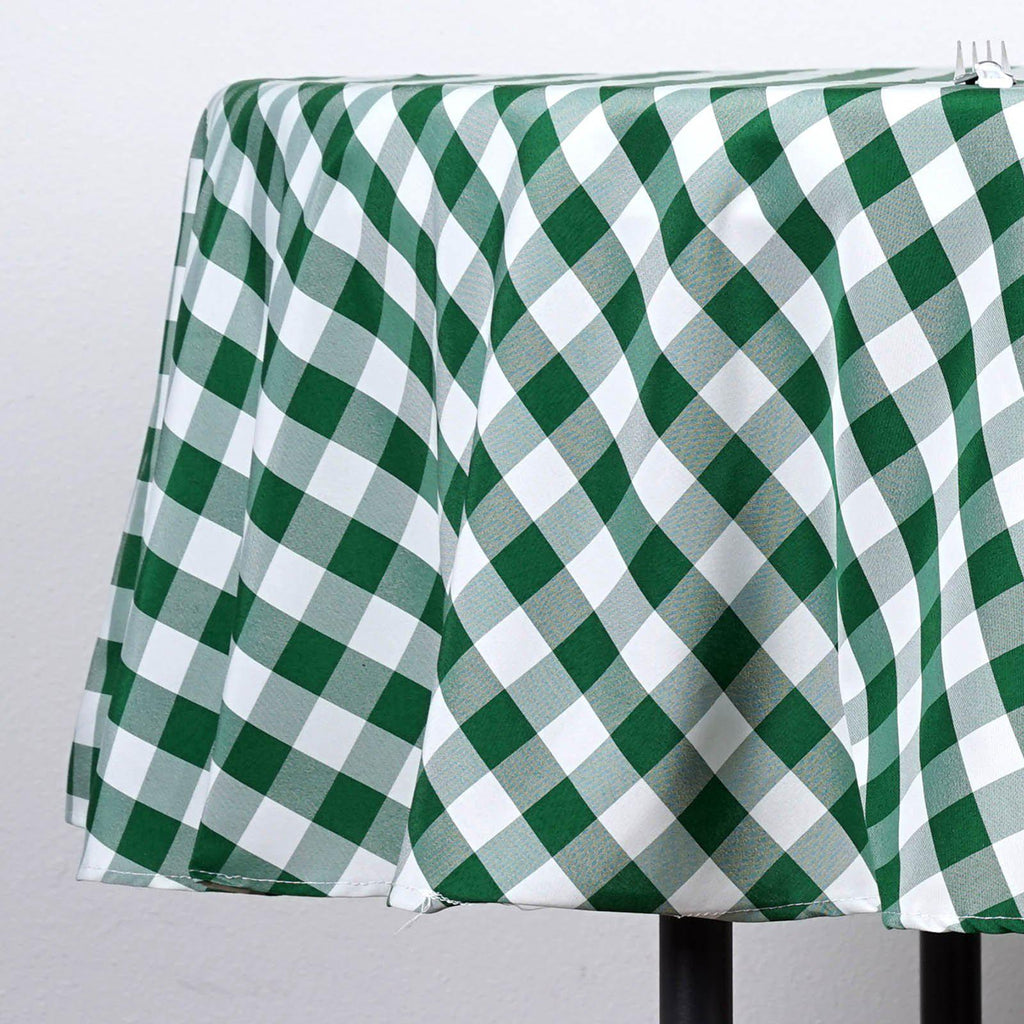 70 Quot White Green Checkered Gingham Polyester Picnic Round