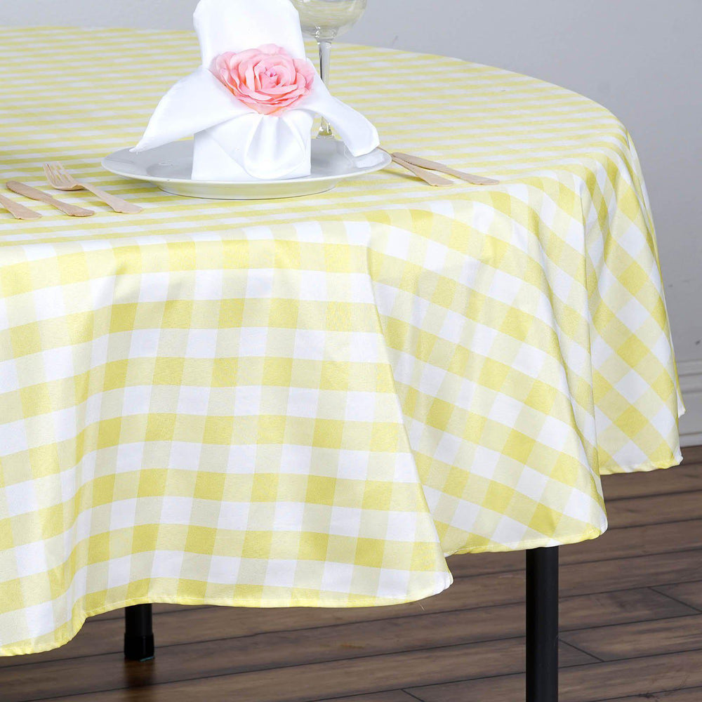 70 Quot Yellow White Checkered Gingham Polyester Picnic Round