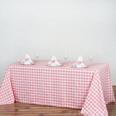"90x132"" White/Rose Quartz Perfect Picnic Inspired Checkered Polyester Tablecloths"