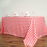 "90""x132"" White/Coral Checkered Polyester Rectangular Linen Tablecloth"