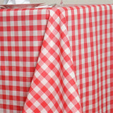"90x132"" White/Coral Perfect Picnic Inspired Checkered Polyester Tablecloths"