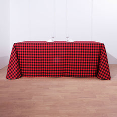 Buffalo Plaid Tablecloth | 90x132 Rectangular | Black/Red | Checkered Polyester Linen Tablecloth