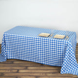 "90x132"" Checkered Polyester Rectangular Linen Home Picnic Tablecloth - White/Blue"
