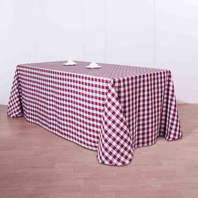 Buffalo Plaid Tablecloth | 90x132 Rectangular | White/Burgundy | Checkered Polyester Linen Tablecloth
