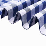 Buffalo Plaid Tablecloth | 90x132 Rectangular | White/Navy Blue | Checkered Polyester Linen Tablecloth