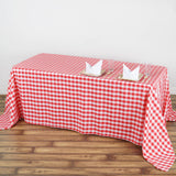 "90x132"" Checkered Polyester Rectangular Linen Home Picnic Tablecloth - White/Red"