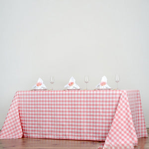 "90""x156"" White/Rose Quartz Checkered Polyester Rectangular Tablecloth"