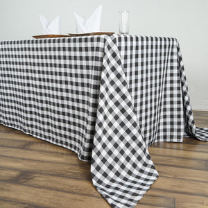 "90""x156"" White/Black Checkered Polyester Rectangular Linen Tablecloth"