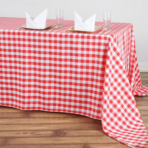 "90""x156"" White/Red Checkered Polyester Rectangular Linen Tablecloth"