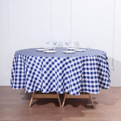 Buffalo Plaid Tablecloth | 90 inch Round | White/Navy Blue | Checkered Polyester Tablecloth