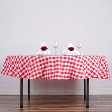 "Perfect Picnic Inspired Red/White Checkered 90"" Round Polyester Tablecloths"