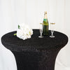 Black Metallic Shiny Glittered Spandex Cocktail Table Cover