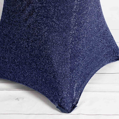 Navy Blue Metallic Shiny Glittered Spandex Cocktail Table Cover