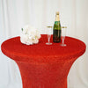 Red Metallic Shiny Glittered Spandex Cocktail Table Cover